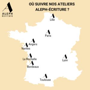 Carte de France des villes où trouver des ateliers d'écriture